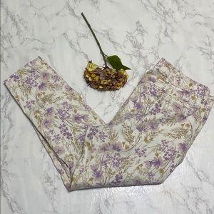 Old Navy purple flower printed pixie pants 16